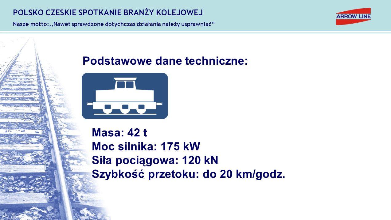 Podstawowe dane techniczne: Masa: 42 t Moc silnika: 175 kW Siła pociągowa: 120 kN Szybkość przetoku: do 20 km/godz. POLSKO CZESKIE SPOTKANIE BRANŻY KO