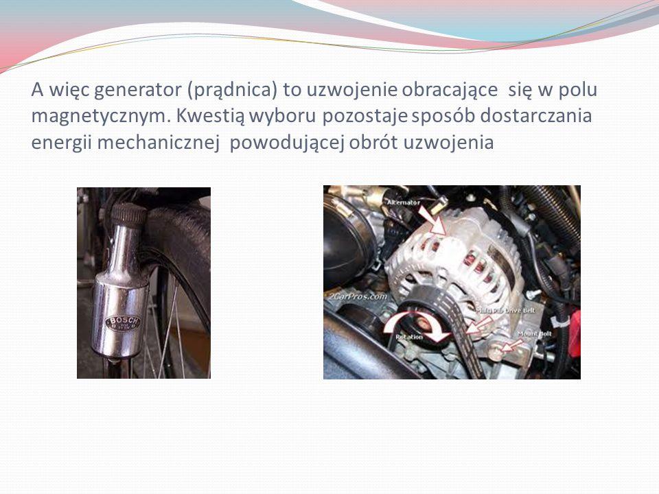 A więc generator (prądnica) to uzwojenie obracające się w polu magnetycznym. Kwestią wyboru pozostaje sposób dostarczania energii mechanicznej powoduj