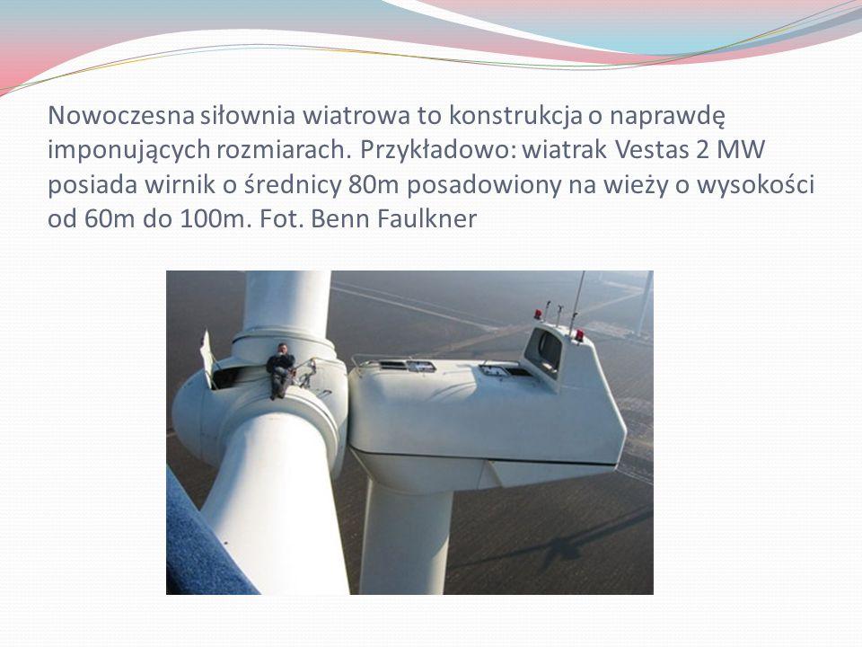 Nowoczesna siłownia wiatrowa to konstrukcja o naprawdę imponujących rozmiarach. Przykładowo: wiatrak Vestas 2 MW posiada wirnik o średnicy 80m posadow