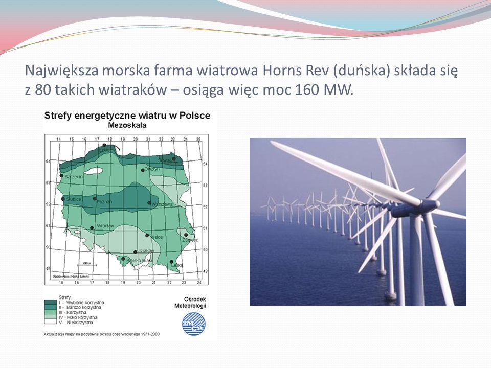 Największa morska farma wiatrowa Horns Rev (duńska) składa się z 80 takich wiatraków – osiąga więc moc 160 MW.