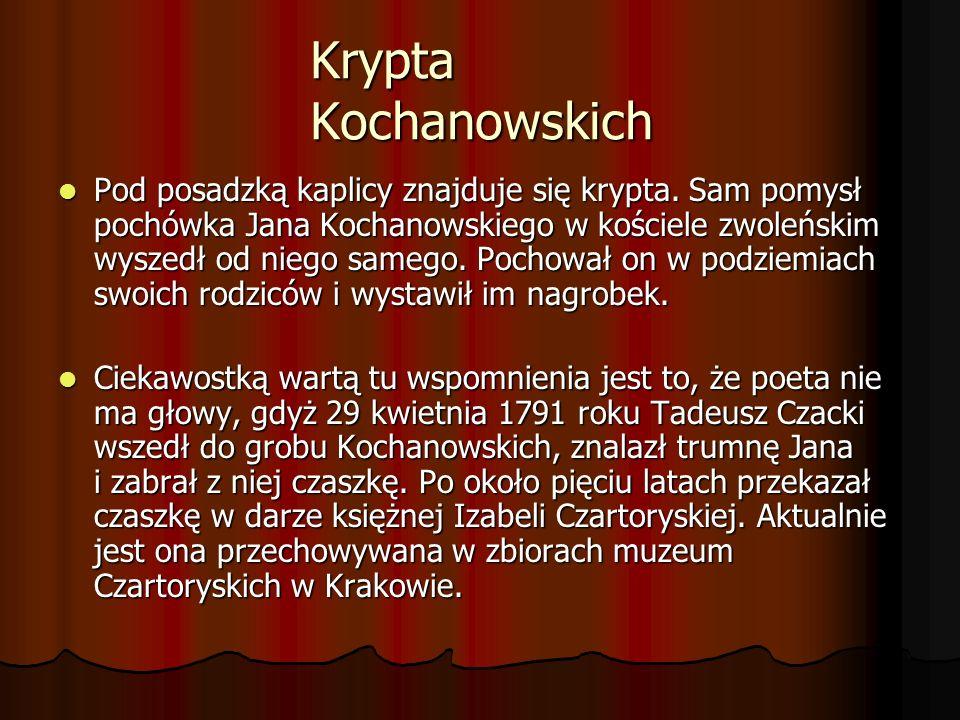 Krypta Kochanowskich Pod posadzką kaplicy znajduje się krypta. Sam pomysł pochówka Jana Kochanowskiego w kościele zwoleńskim wyszedł od niego samego.