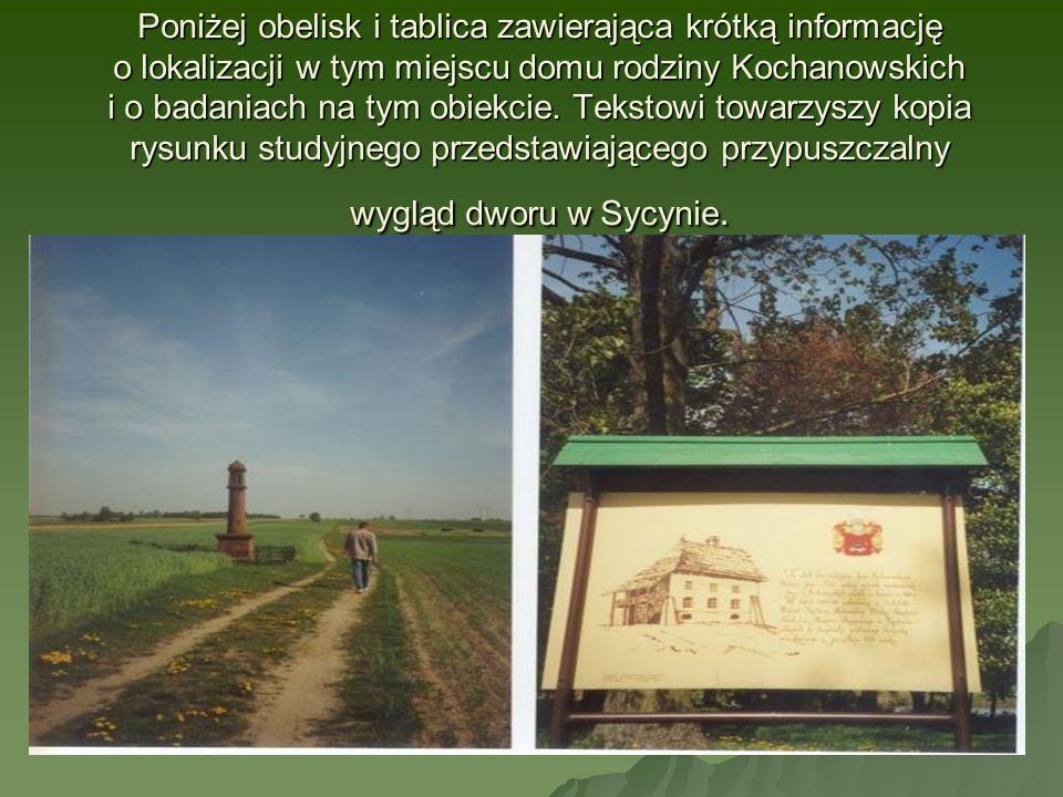 Poniżej obelisk i tablica zawierająca krótką informację o lokalizacji w tym miejscu domu rodziny Kochanowskich i o badaniach na tym obiekcie.