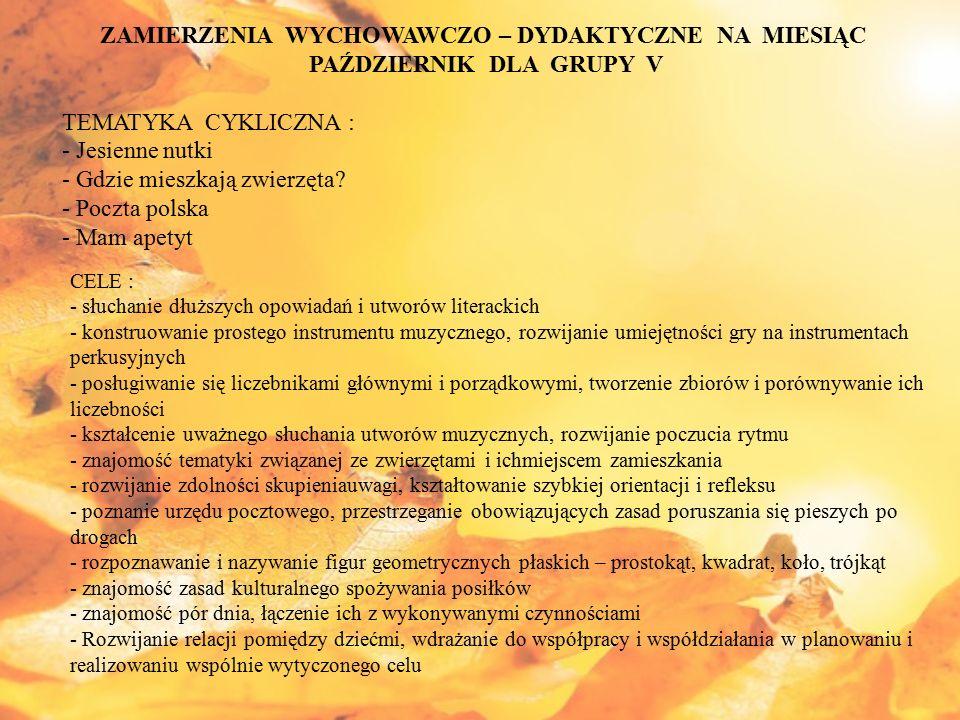 ZAMIERZENIA WYCHOWAWCZO – DYDAKTYCZNE NA MIESIĄC LISTOPAD DLA GRUPY V TEMATYKA CYKLICZNA : - Taniec liści - Piękna nasza Polska Cała - Co słychać w lesie .