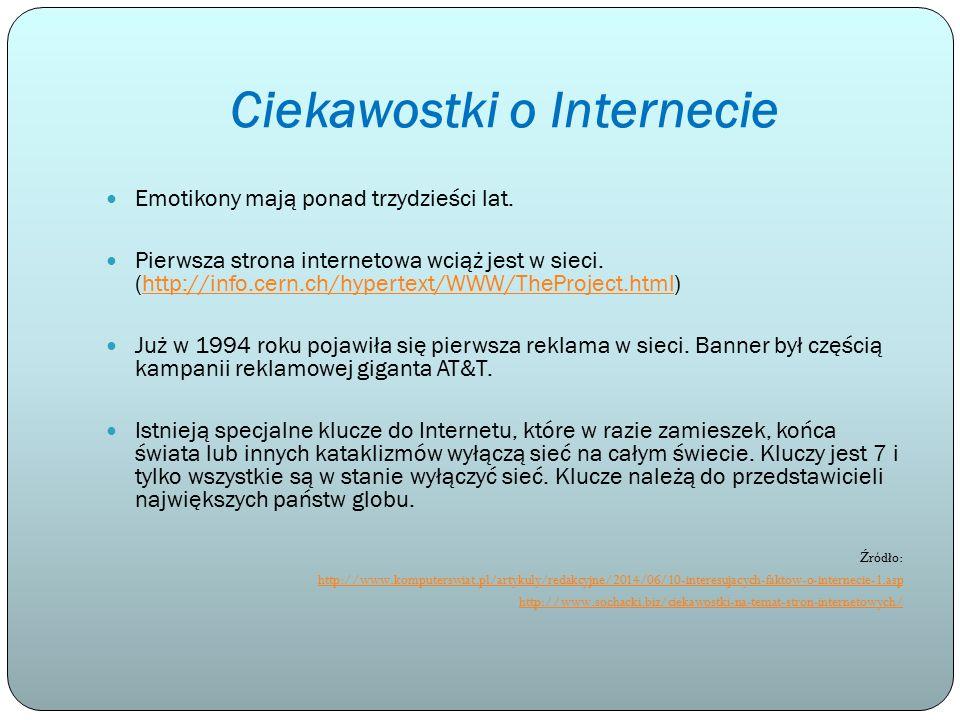 Ciekawostki o Internecie Emotikony mają ponad trzydzieści lat. Pierwsza strona internetowa wciąż jest w sieci. (http://info.cern.ch/hypertext/WWW/TheP