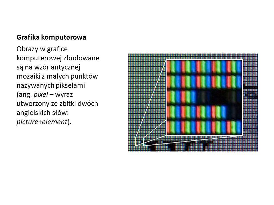 Grafika komputerowa Obrazy w grafice komputerowej zbudowane są na wzór antycznej mozaiki z małych punktów nazywanych pikselami (ang.