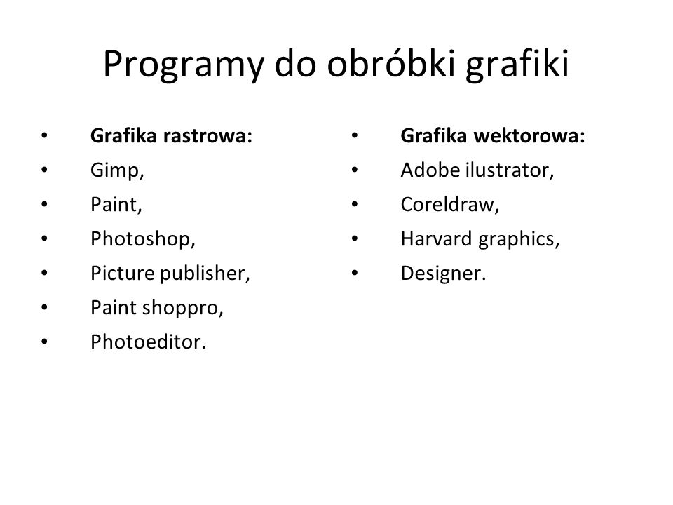Programy do obróbki grafiki Grafika rastrowa: Gimp, Paint, Photoshop, Picture publisher, Paint shoppro, Photoeditor.