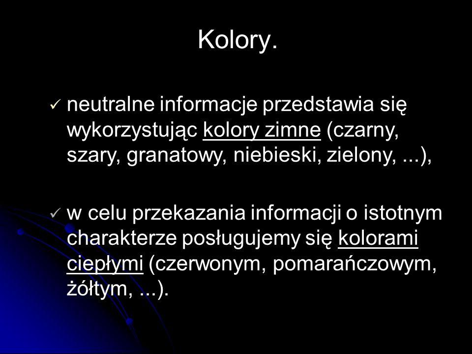 neutralne informacje przedstawia się wykorzystując kolory zimne (czarny, szary, granatowy, niebieski, zielony,...), w celu przekazania informacji o istotnym charakterze posługujemy się kolorami ciepłymi (czerwonym, pomarańczowym, żółtym,...).