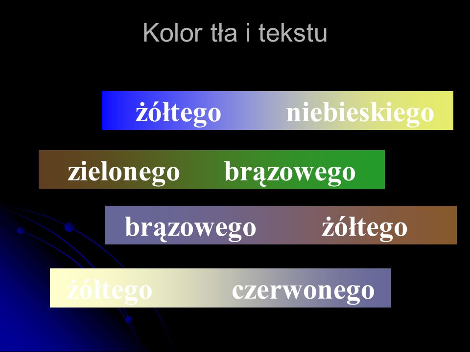 żółtego niebieskiego żółtego czerwonego zielonego brązowego brązowego żółtego Kolor tła i tekstu