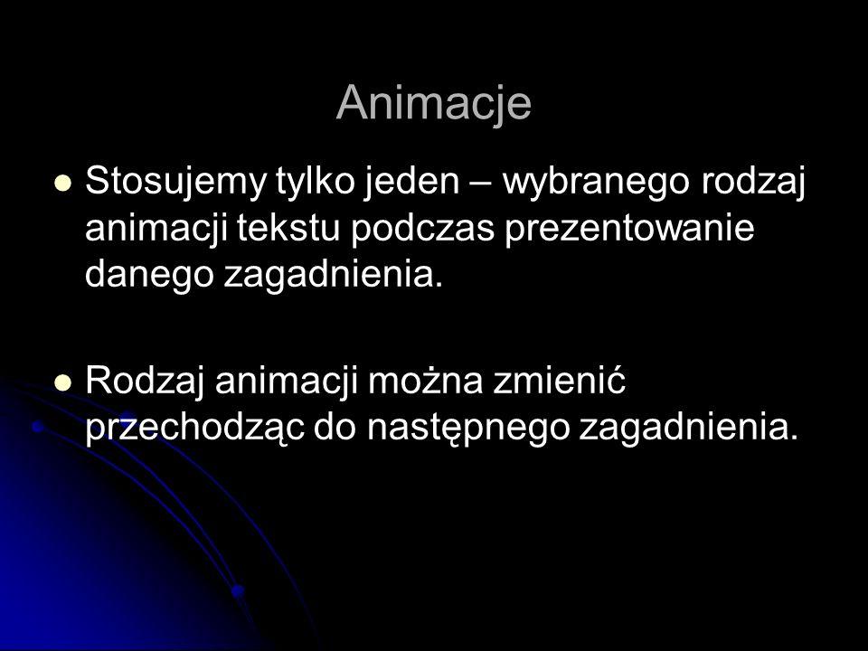 Animacje Stosujemy tylko jeden – wybranego rodzaj animacji tekstu podczas prezentowanie danego zagadnienia. Rodzaj animacji można zmienić przechodząc