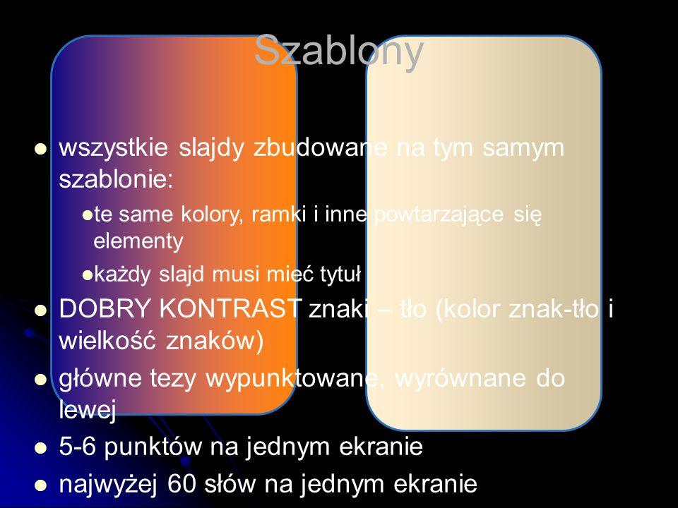 Szablony wszystkie slajdy zbudowane na tym samym szablonie: te same kolory, ramki i inne powtarzające się elementy każdy slajd musi mieć tytuł DOBRY KONTRAST znaki – tło (kolor znak-tło i wielkość znaków) główne tezy wypunktowane, wyrównane do lewej 5-6 punktów na jednym ekranie najwyżej 60 słów na jednym ekranie