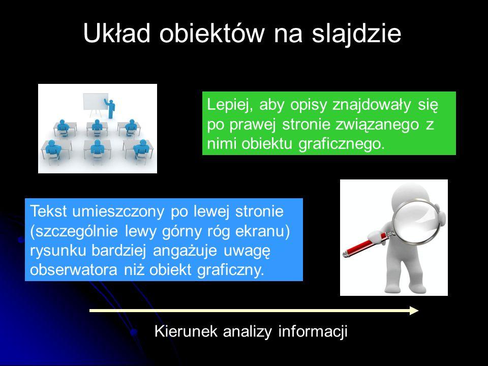 Lepiej, aby opisy znajdowały się po prawej stronie związanego z nimi obiektu graficznego. Tekst umieszczony po lewej stronie (szczególnie lewy górny r