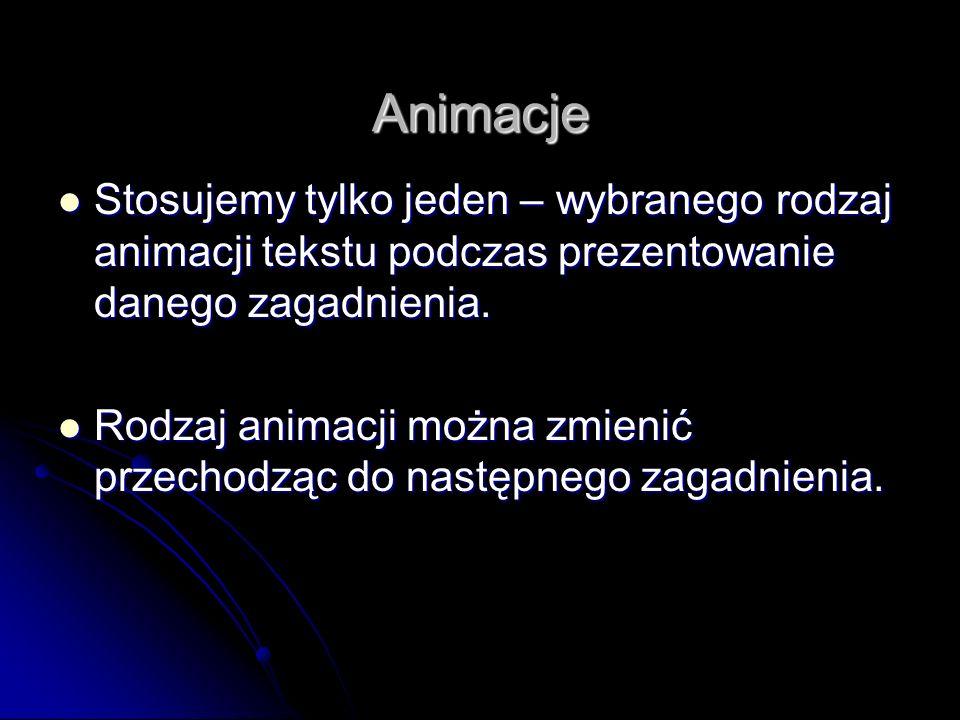 Animacje Stosujemy tylko jeden – wybranego rodzaj animacji tekstu podczas prezentowanie danego zagadnienia.