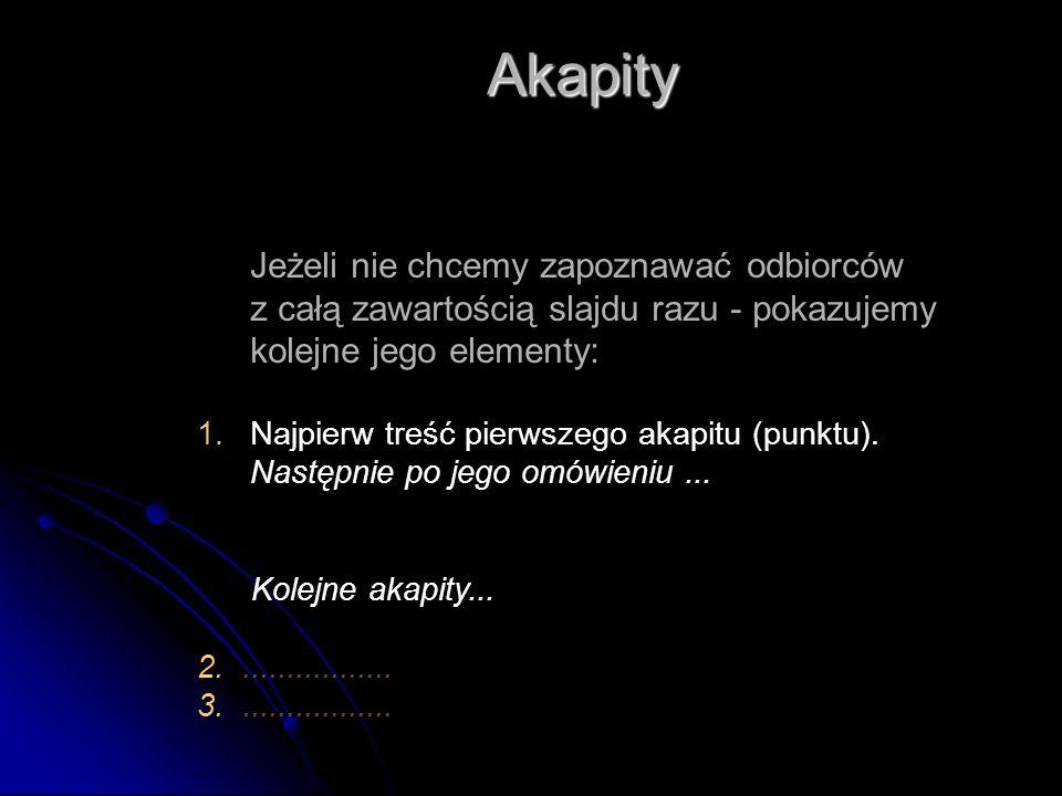 Jeżeli nie chcemy zapoznawać odbiorców z całą zawartością slajdu razu - pokazujemy kolejne jego elementy: 1.Najpierw treść pierwszego akapitu (punktu).