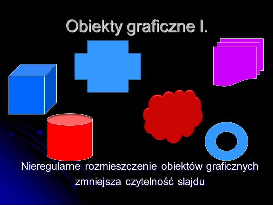 Obiekty graficzne I. Nieregularne rozmieszczenie obiektów graficznych zmniejsza czytelność slajdu