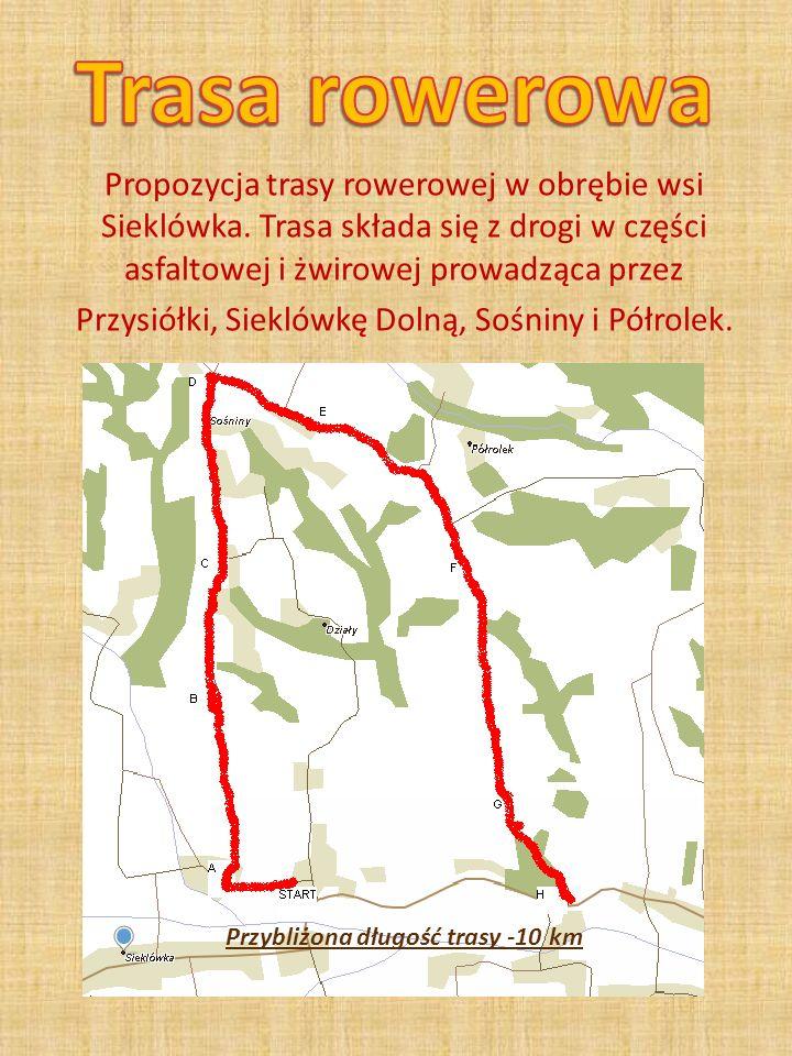 Propozycja trasy rowerowej w obrębie wsi Sieklówka. Trasa składa się z drogi w części asfaltowej i żwirowej prowadząca przez Przysiółki, Sieklówkę Dol