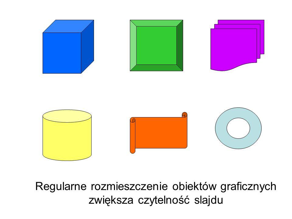 Nieregularne rozmieszczenie obiektów graficznych zmniejsza czytelność slajdu