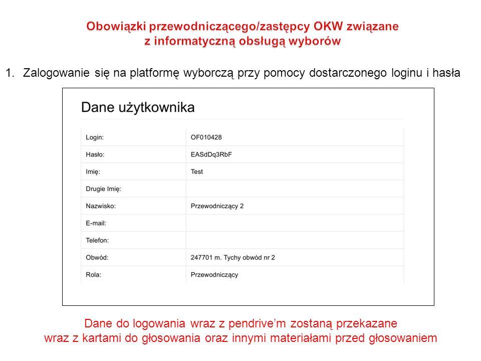 1.Zalogowanie się na platformę wyborczą przy pomocy dostarczonego loginu i hasła Dane do logowania wraz z pendrive'm zostaną przekazane wraz z kartami