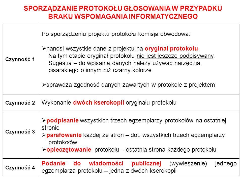 SPORZĄDZANIE PROTOKOŁU GŁOSOWANIA W PRZYPADKU BRAKU WSPOMAGANIA INFORMATYCZNEGO Czynność 1 Po sporządzeniu projektu protokołu komisja obwodowa:  nano