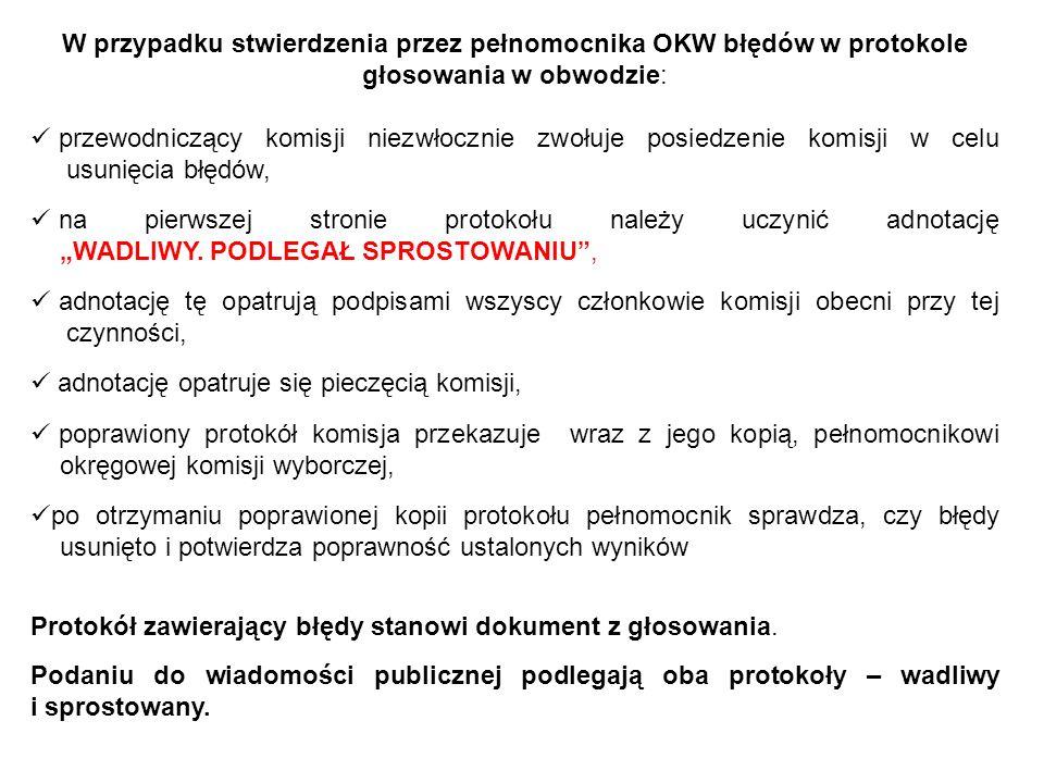 W przypadku stwierdzenia przez pełnomocnika OKW błędów w protokole głosowania w obwodzie: przewodniczący komisji niezwłocznie zwołuje posiedzenie komi