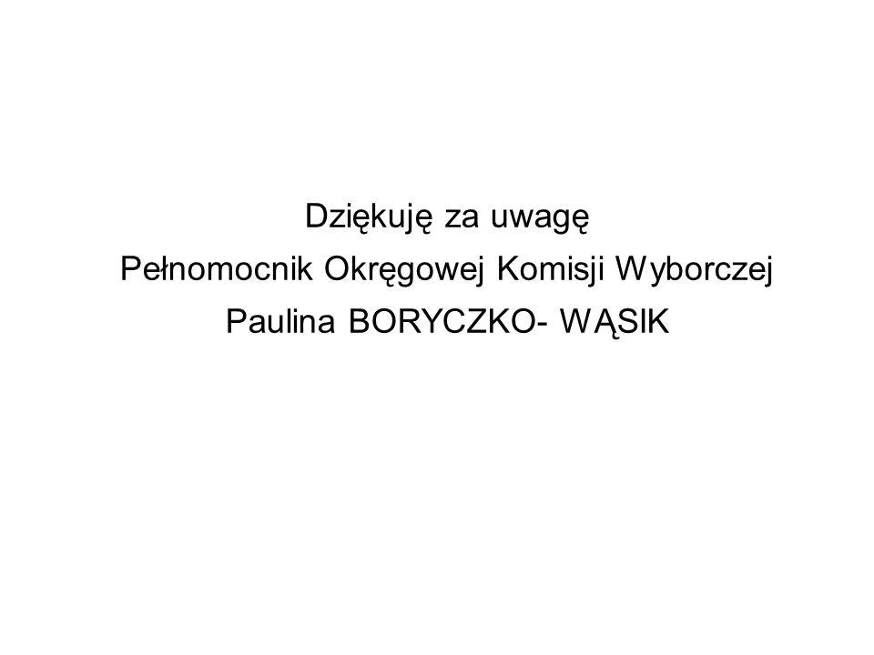 Dziękuję za uwagę Pełnomocnik Okręgowej Komisji Wyborczej Paulina BORYCZKO- WĄSIK