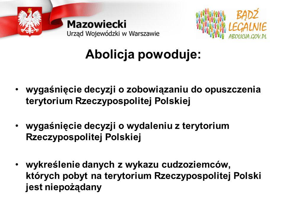 Abolicja powoduje: wygaśnięcie decyzji o zobowiązaniu do opuszczenia terytorium Rzeczypospolitej Polskiej wygaśnięcie decyzji o wydaleniu z terytorium Rzeczypospolitej Polskiej wykreślenie danych z wykazu cudzoziemców, których pobyt na terytorium Rzeczypospolitej Polski jest niepożądany