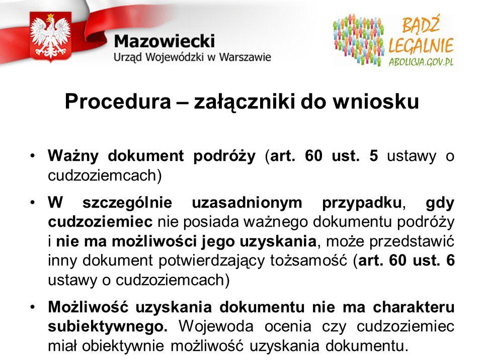 Procedura – załączniki do wniosku Ważny dokument podróży (art.
