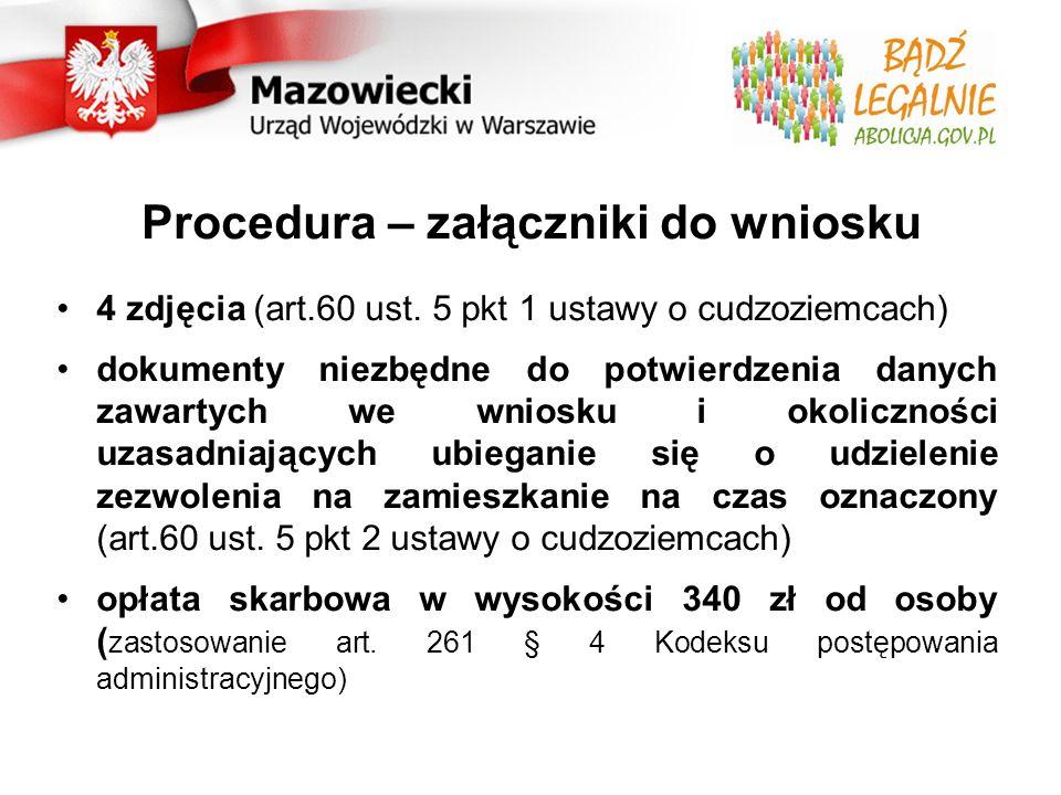 Procedura – załączniki do wniosku 4 zdjęcia (art.60 ust.