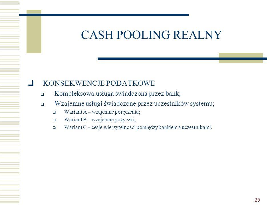 20 CASH POOLING REALNY  KONSEKWENCJE PODATKOWE  Kompleksowa usługa świadczona przez bank;  Wzajemne usługi świadczone przez uczestników systemu; 