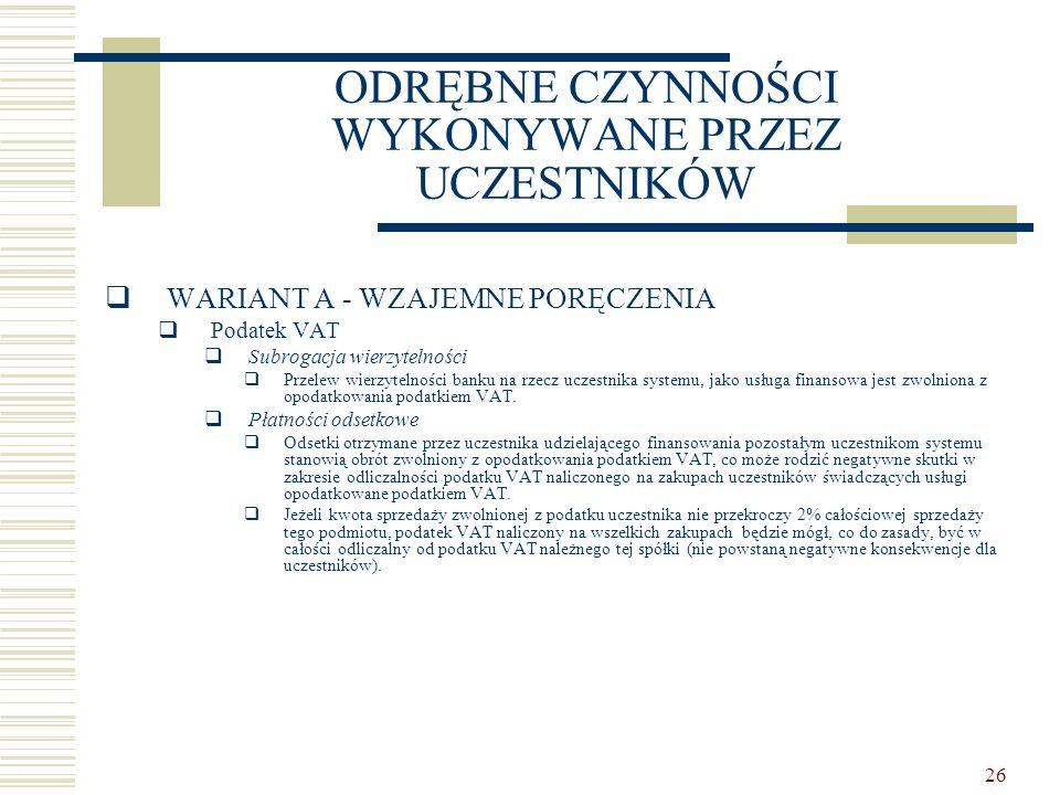 26 ODRĘBNE CZYNNOŚCI WYKONYWANE PRZEZ UCZESTNIKÓW  WARIANT A - WZAJEMNE PORĘCZENIA  Podatek VAT  Subrogacja wierzytelności  Przelew wierzytelności