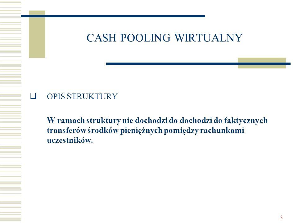 4 CASH POOLING WIRTUALNY  OPIS STRUKTURY  Bank prowadzi rachunki przeznaczone do przyjmowania wpłat i dokonywania wypłat środków pieniężnych dla poszczególnych uczestników umowy;  Dodatkowo, dla każdego uczestnika umowy, Bank prowadzi rachunek pomocniczy;  Bank udziela każdemu uczestnikowi umowy kredytu bieżącego na jego rachunku głównym;  Metodologia wyliczania skonsolidowanego oprocentowania;  Dodatkowe elementy umowy.