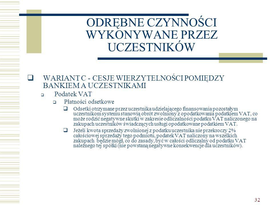 32 ODRĘBNE CZYNNOŚCI WYKONYWANE PRZEZ UCZESTNIKÓW  WARIANT C - CESJE WIERZYTELNOŚCI POMIĘDZY BANKIEM A UCZESTNIKAMI  Podatek VAT  Płatności odsetko