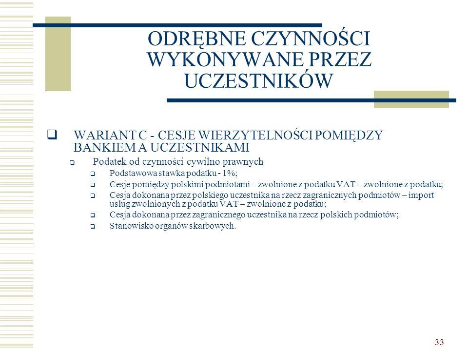 33 ODRĘBNE CZYNNOŚCI WYKONYWANE PRZEZ UCZESTNIKÓW  WARIANT C - CESJE WIERZYTELNOŚCI POMIĘDZY BANKIEM A UCZESTNIKAMI  Podatek od czynności cywilno prawnych  Podstawowa stawka podatku - 1%;  Cesje pomiędzy polskimi podmiotami – zwolnione z podatku VAT – zwolnione z podatku;  Cesja dokonana przez polskiego uczestnika na rzecz zagranicznych podmiotów – import usług zwolnionych z podatku VAT – zwolnione z podatku;  Cesja dokonana przez zagranicznego uczestnika na rzecz polskich podmiotów;  Stanowisko organów skarbowych.