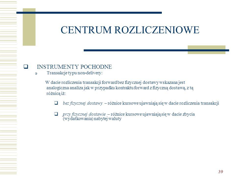 39 CENTRUM ROZLICZENIOWE  INSTRUMENTY POCHODNE  Transakcje typu non-delivery: W dacie rozliczenia transakcji forward bez fizycznej dostawy wskazana