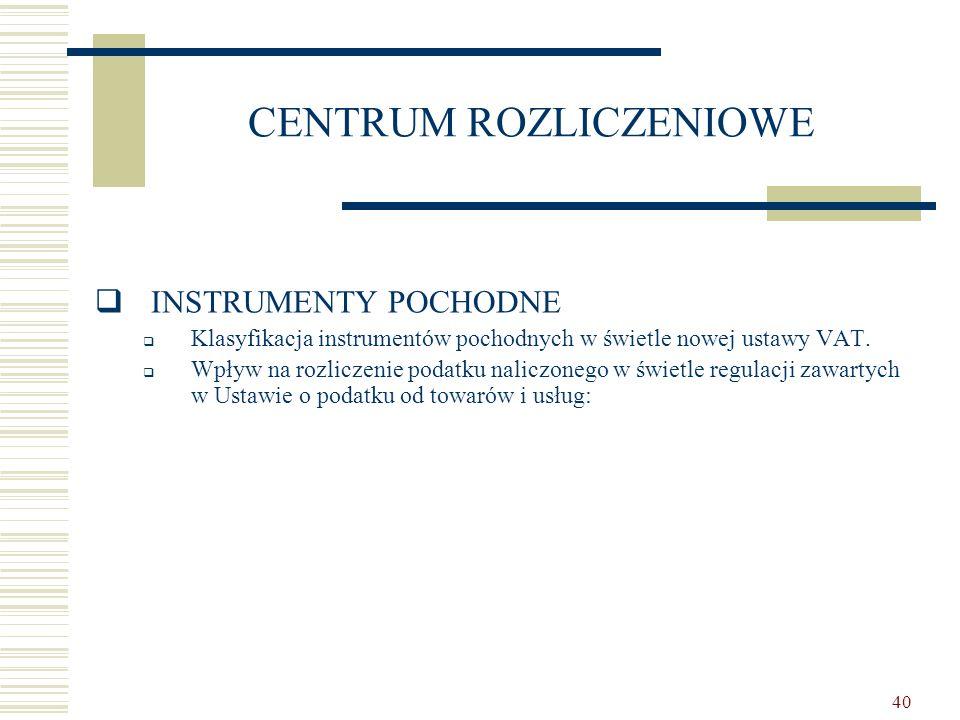 40 CENTRUM ROZLICZENIOWE  INSTRUMENTY POCHODNE  Klasyfikacja instrumentów pochodnych w świetle nowej ustawy VAT.  Wpływ na rozliczenie podatku nali