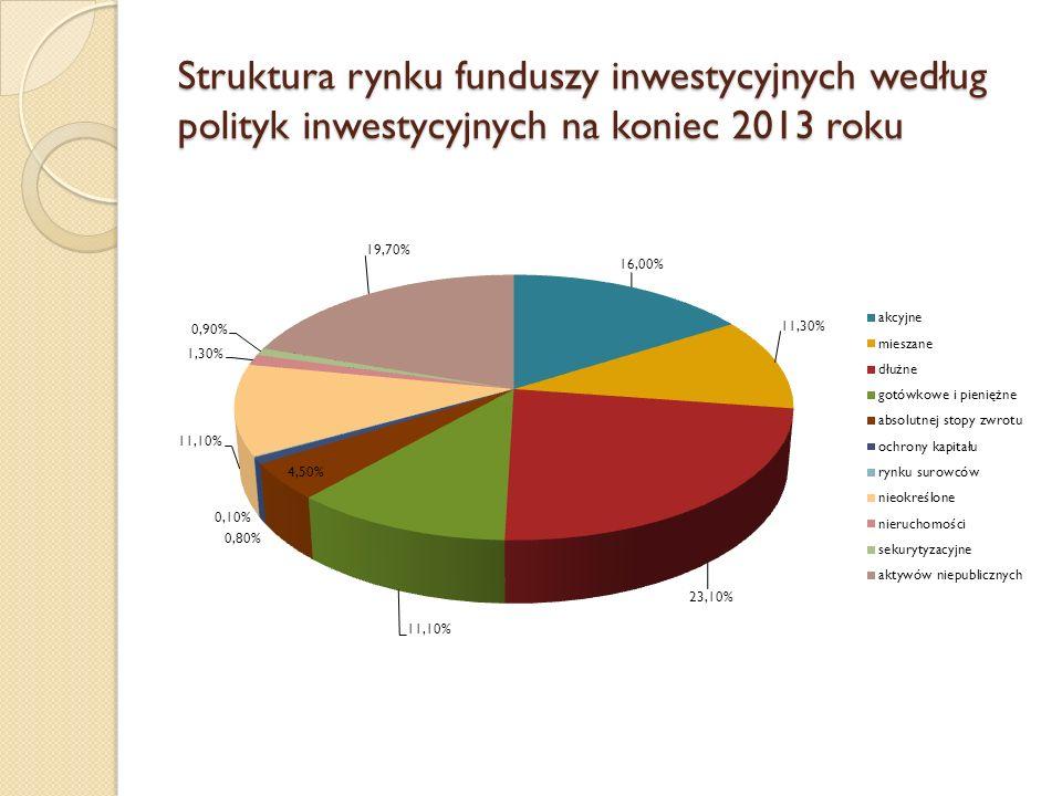 Struktura rynku funduszy inwestycyjnych według polityk inwestycyjnych na koniec 2013 roku