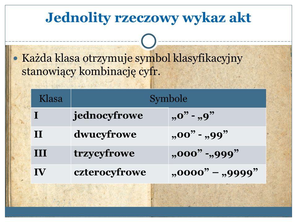 Jednolity rzeczowy wykaz akt Każda klasa otrzymuje symbol klasyfikacyjny stanowiący kombinację cyfr.