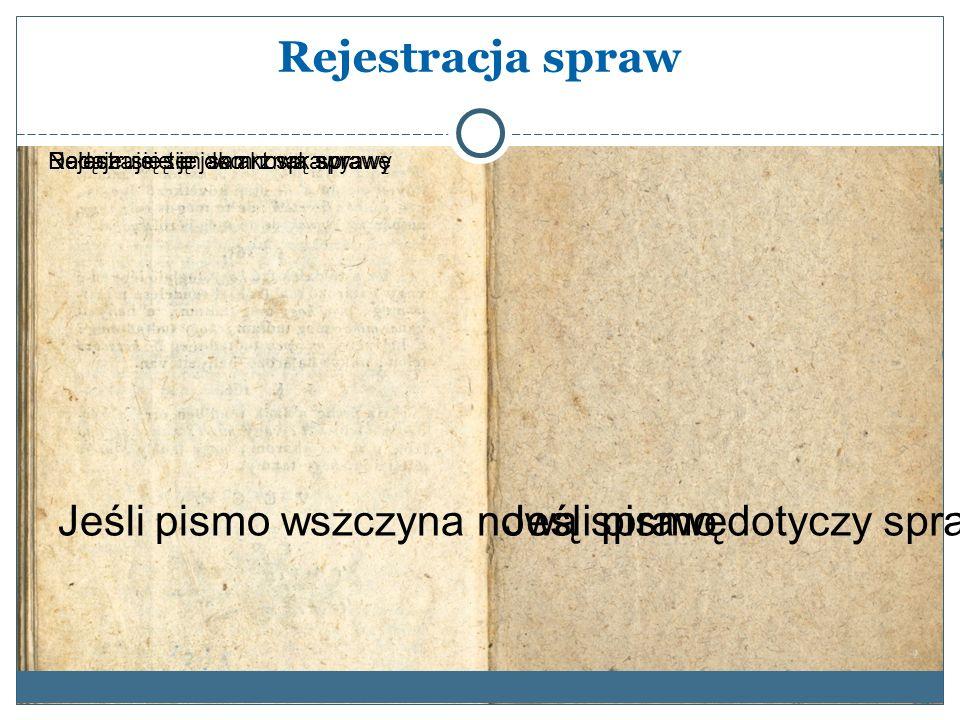 Rejestracja spraw Jeśli pismo dotyczy sprawy już wszczętej Dołącza się je do akt sprawyNadaje się ten sam znak sprawy Jeśli pismo wszczyna nową sprawę