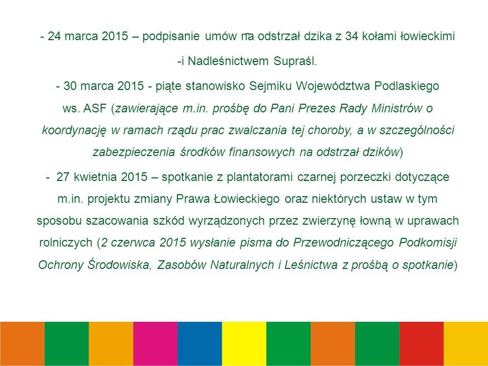 - - 24 marca 2015 – podpisanie umów na odstrzał dzika z 34 kołami łowieckimi -i Nadleśnictwem Supraśl.