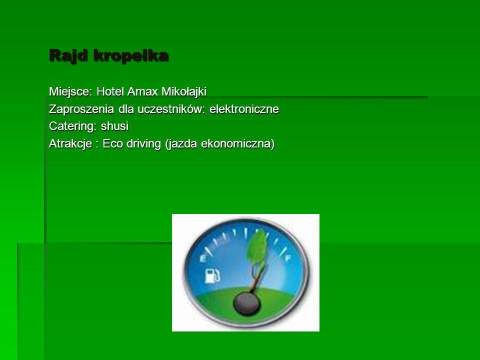 Rajd kropelka Rajd kropelka Miejsce: Hotel Amax Mikołajki Zaproszenia dla uczestników: elektroniczne Catering: shusi Atrakcje : Eco driving (jazda ekonomiczna)