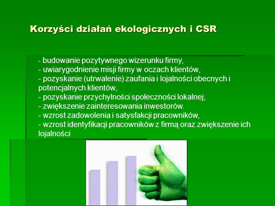 Korzyści działań ekologicznych i CSR - budowanie pozytywnego wizerunku firmy, - uwiarygodnienie misji firmy w oczach klientów, - pozyskanie (utrwalenie) zaufania i lojalności obecnych i potencjalnych klientów, - pozyskanie przychylności społeczności lokalnej, - zwiększenie zainteresowania inwestorów.
