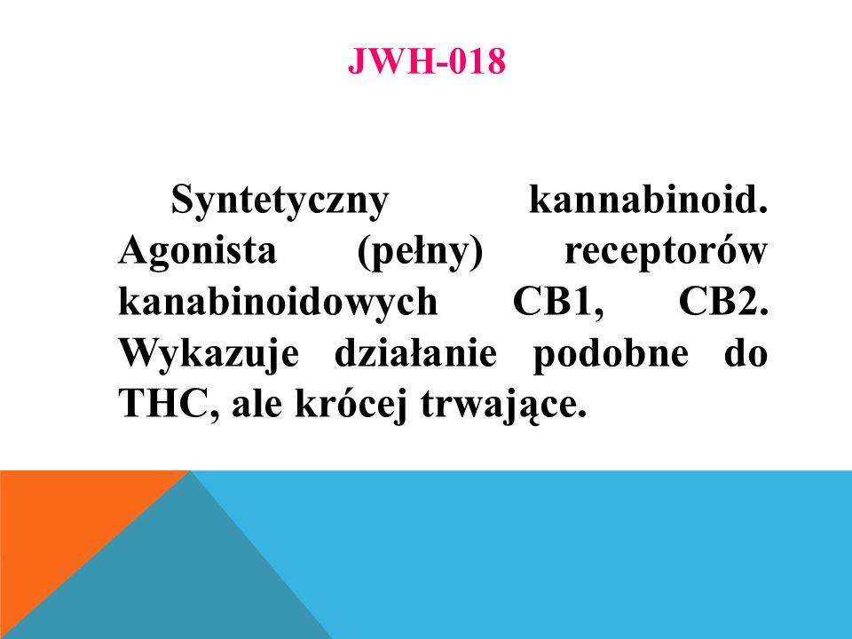 JWH-018 Syntetyczny kannabinoid. Agonista (pełny) receptorów kanabinoidowych CB1, CB2.