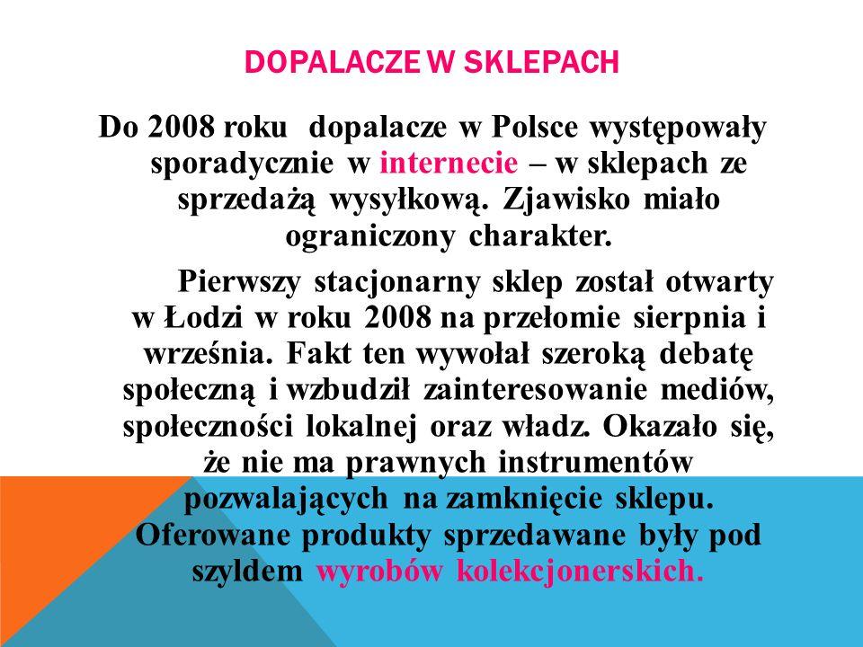 DOPALACZE W SKLEPACH Do 2008 roku dopalacze w Polsce występowały sporadycznie w internecie – w sklepach ze sprzedażą wysyłkową.