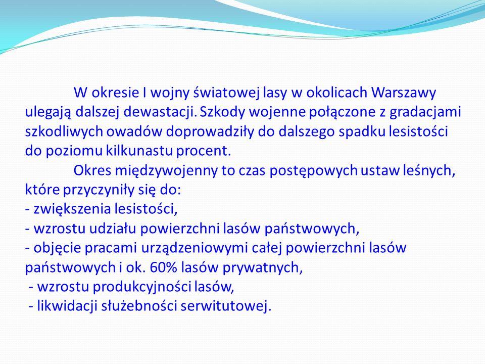 W okresie I wojny światowej lasy w okolicach Warszawy ulegają dalszej dewastacji.
