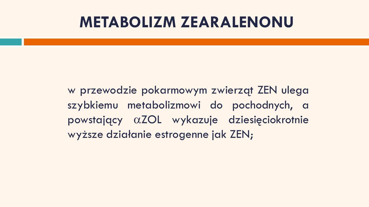 METABOLIZM ZEARALENONU w przewodzie pokarmowym zwierząt ZEN ulega szybkiemu metabolizmowi do pochodnych, a powstający  ZOL wykazuje dziesięciokrotnie wyższe działanie estrogenne jak ZEN;