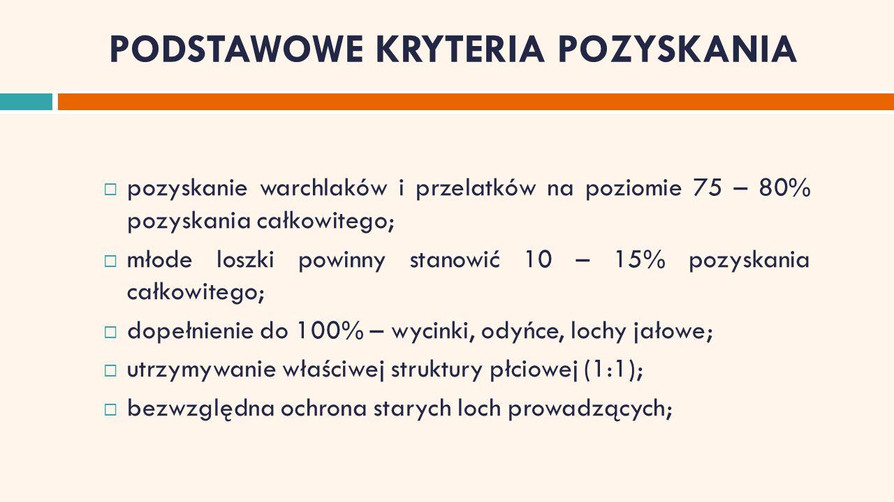 PODSTAWOWE KRYTERIA POZYSKANIA  pozyskanie warchlaków i przelatków na poziomie 75 – 80% pozyskania całkowitego;  młode loszki powinny stanowić 10 – 15% pozyskania całkowitego;  dopełnienie do 100% – wycinki, odyńce, lochy jałowe;  utrzymywanie właściwej struktury płciowej (1:1);  bezwzględna ochrona starych loch prowadzących;