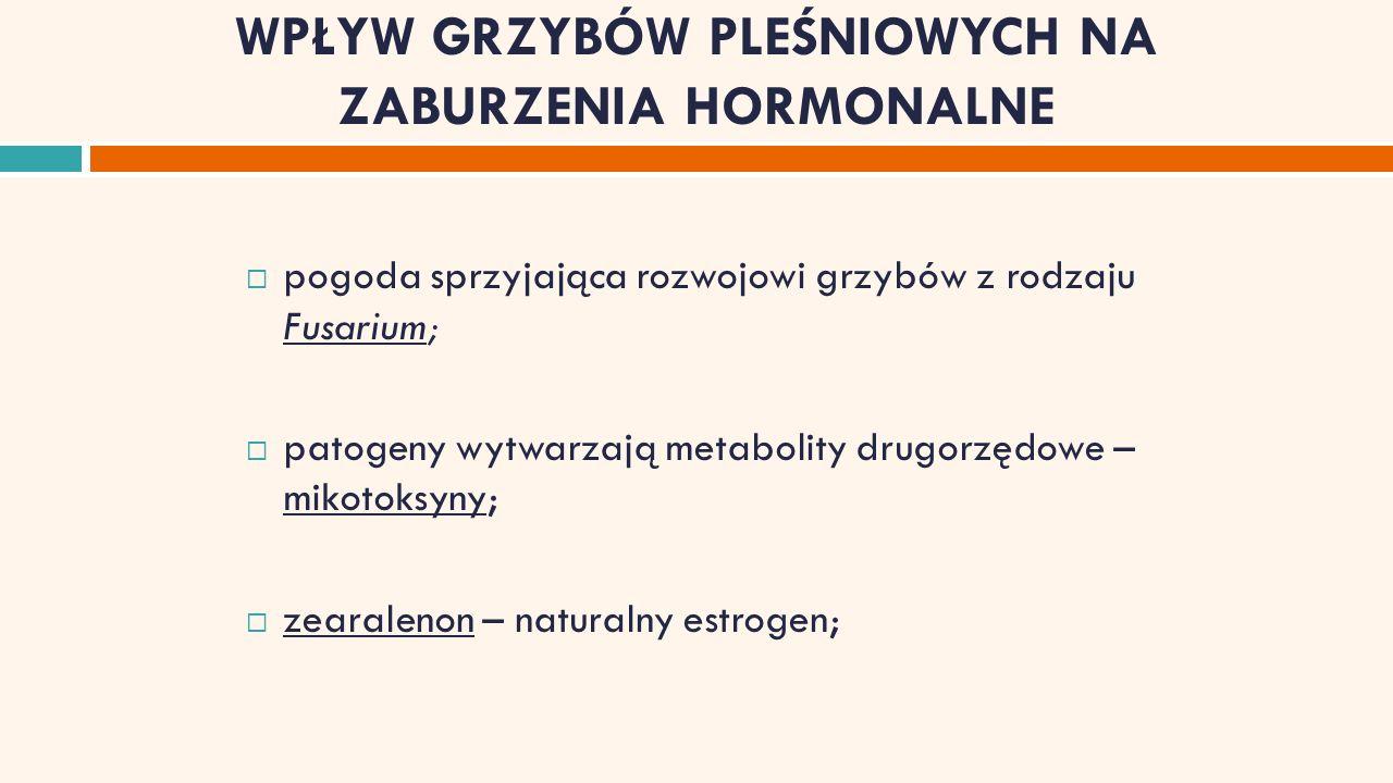 WPŁYW GRZYBÓW PLEŚNIOWYCH NA ZABURZENIA HORMONALNE  pogoda sprzyjająca rozwojowi grzybów z rodzaju Fusarium;  patogeny wytwarzają metabolity drugorzędowe – mikotoksyny;  zearalenon – naturalny estrogen;