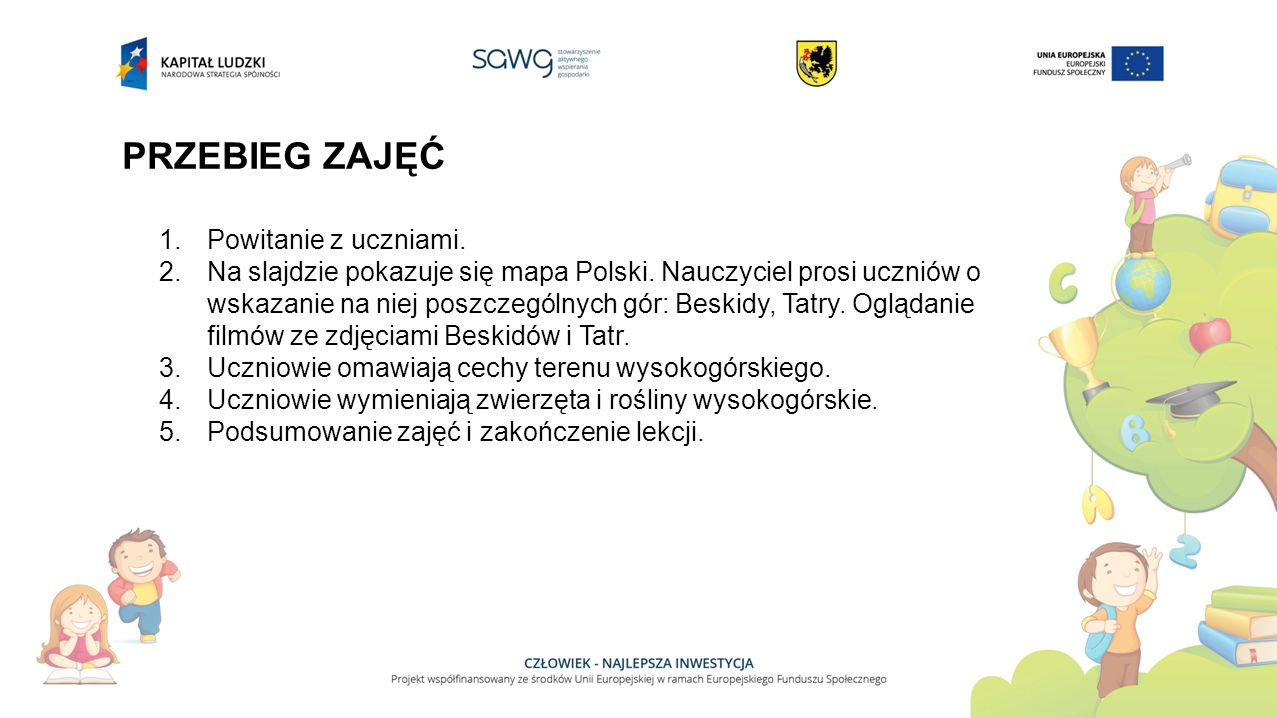 PRZEBIEG ZAJĘĆ 1.Powitanie z uczniami. 2.Na slajdzie pokazuje się mapa Polski. Nauczyciel prosi uczniów o wskazanie na niej poszczególnych gór: Beskid