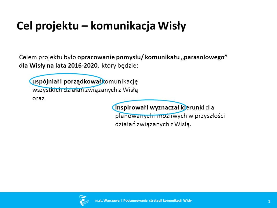 """Cel projektu – komunikacja Wisły uspójniał i porządkował komunikację wszystkich działań związanych z Wisłą oraz Celem projektu było opracowanie pomysłu/ komunikatu """"parasolowego dla Wisły na lata 2016-2020, który będzie: 1 m.st."""