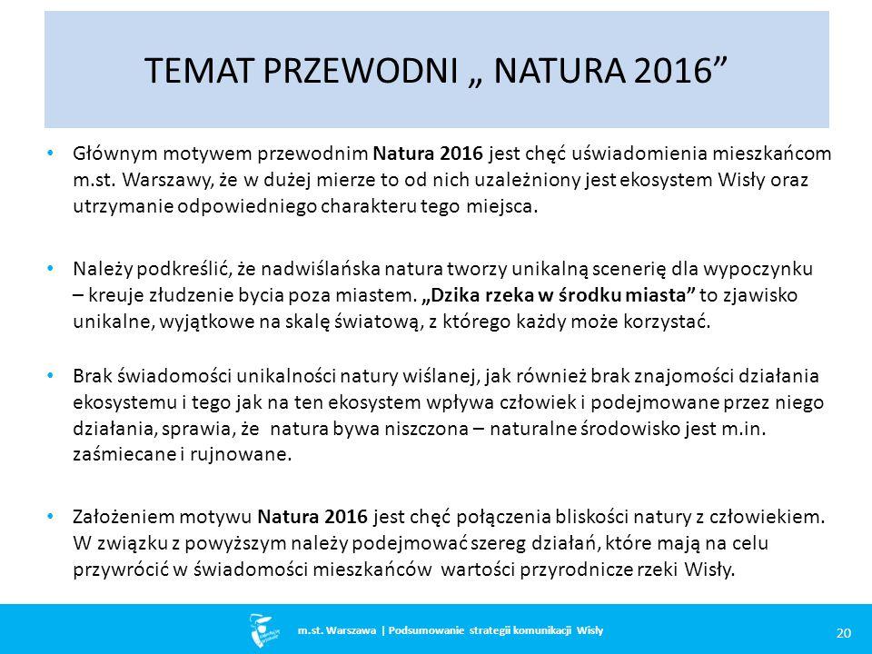 m.st. Warszawa Głównym motywem przewodnim Natura 2016 jest chęć uświadomienia mieszkańcom m.st.