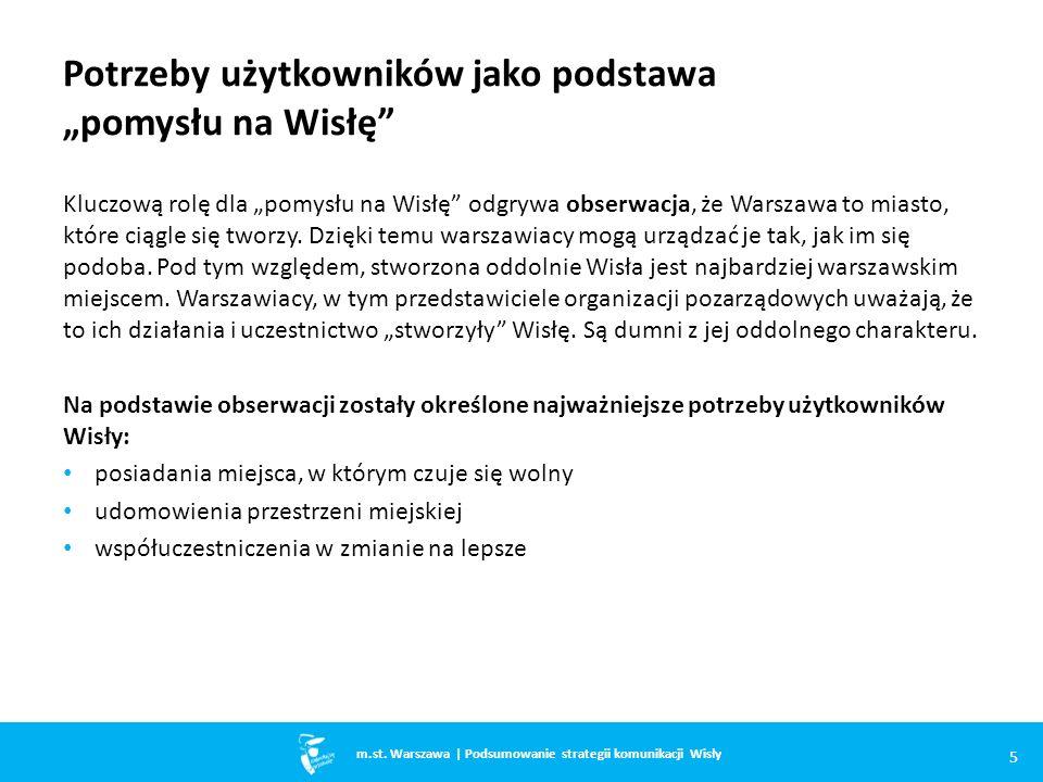 """Potrzeby użytkowników jako podstawa """"pomysłu na Wisłę Kluczową rolę dla """"pomysłu na Wisłę odgrywa obserwacja, że Warszawa to miasto, które ciągle się tworzy."""